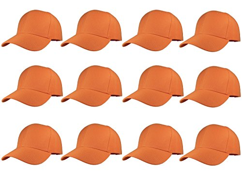 Gelante Plain Blank Baseball Caps Adjustable Back Strap Wholesale LOT 12 Pack- 001-Orange -