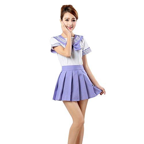 LSERVER Japanese Anime Classice Cute Sailor Suit Short Sleeve Students Uniform Set Costume for Girl Women Purple]()