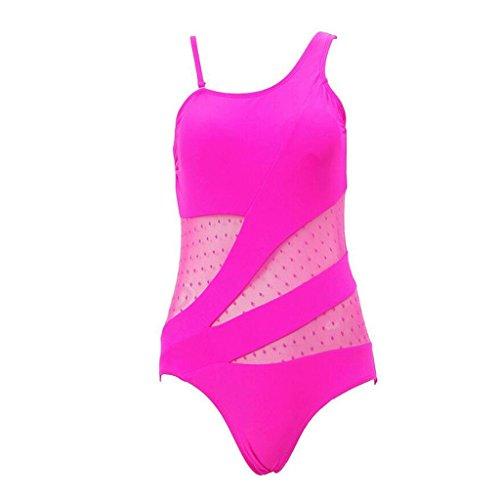 Traje de baño de la playa del traje de baño del balneario siamés hueco hueco retro del color sólido Pink