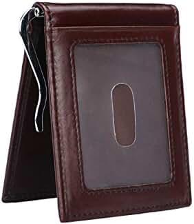 Men's 11 Cards Slots RFID Blocking Slim Wallet Small Leather Bifold Front Pocket Wallet