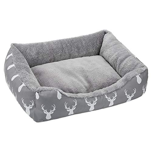 Cheap Hollypet Printed Flannel Rectangle Plush Dog Cat Bed Self-Warming Pet Bed, Gray Antlers