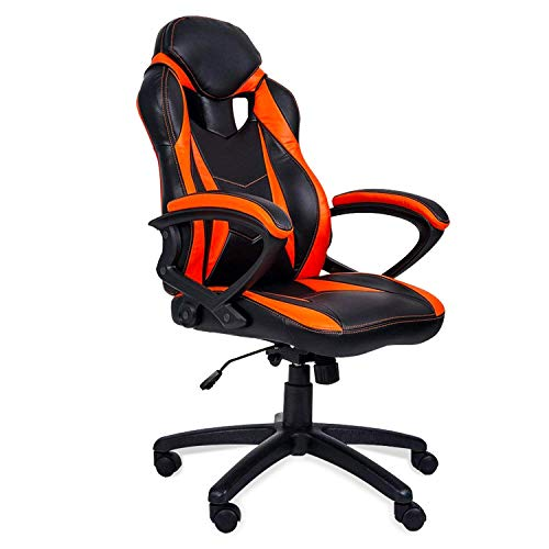 MIERES Gaming Racing Office High Back Computer Desk PU Leather Executive and Ergonomic Adjustable Swivel Chair, Orange/Black5