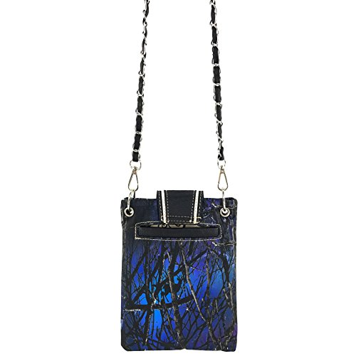 Buckle Tree and Justin Camouflage Messenger Cross Buckle Blue Rhinestone Bling Branches West Chain Crossbody Wings Purse EEqx7rR6