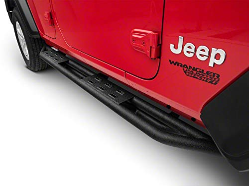 RED ROCK Redrock 4x4 Pinnacle Oval Bent End Side Step Bars in Textured Black for Jeep Wrangler JL 4 Door 2018-2019