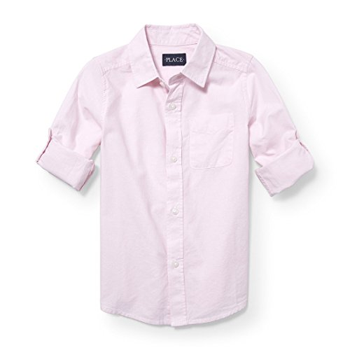 The Children's Place Big Boys' Roll Tab Woven Button Down Shirt, Pink Rose 3840, S (5/6)