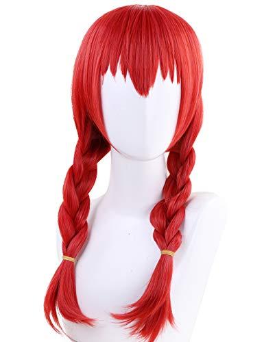 Anogol Hair Cap+Red Braided Anime Cosplay Women
