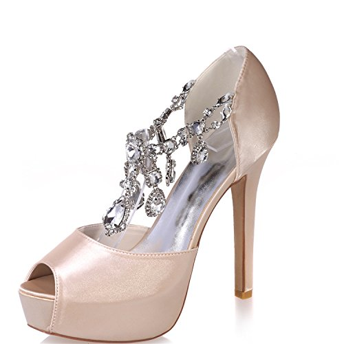 Open Champagne Heel Wedding Satin Bridal Evening Toe Shoes Crystal ZXF3128 36 Porm Clearbridal with Stiletto Peep for Women's Party qSUwX