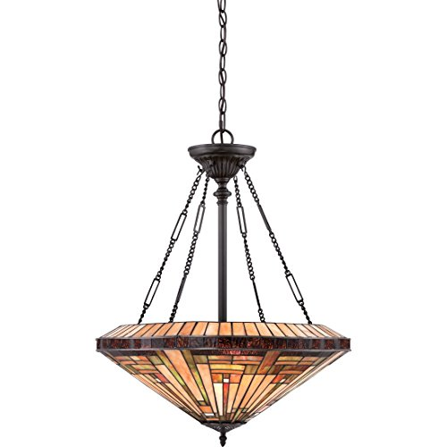 (Quoizel TFST2822VB Stephen Tiffany Bowl Pendant Ceiling Lighting, 4-Light, 400 Watts, Vintage Bronze (28