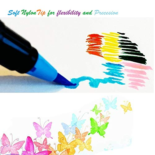 24 Water Color Markers Watercolor Pens Watercolor Brush Pens Set Fineliner Pens Case for Kids Water Based Paint Brushes Bonus Refillable Professional Artist Painting Nylon Tip Real Art Markers Mess Fr by AFIIT (Image #1)
