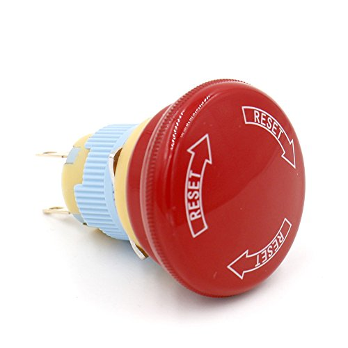 Baomain 16mm Red Sign Emergency Stop Push Button Weatherproof Pushbutton Switch