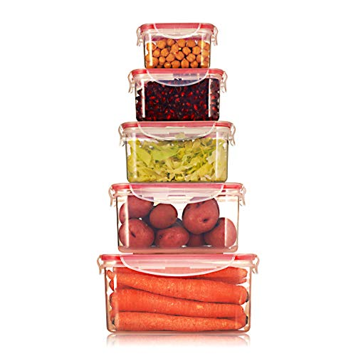 Sealco Food Storage Meal Prep Lunch Box Containers with Lids - Reusable Plastic Containers - BPA-Free, Stackable, Microwave, Dishwasher, Freezer Safe - Airtight - 5 Piece Set