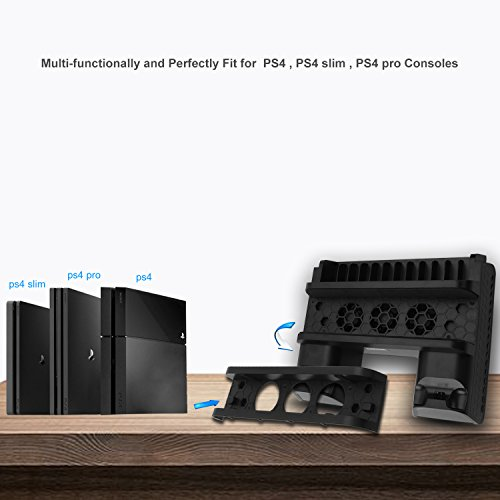bedee PlayStation Ladestation Ständ, 4-in-1 PS4 Vertikaler Standfuß Kühler Lüfter Dual Controller Ladegerät für PS4 / PS4 Slim / PS4 Pro mit 3 Eingebaute Cooling Fan 12 Slots