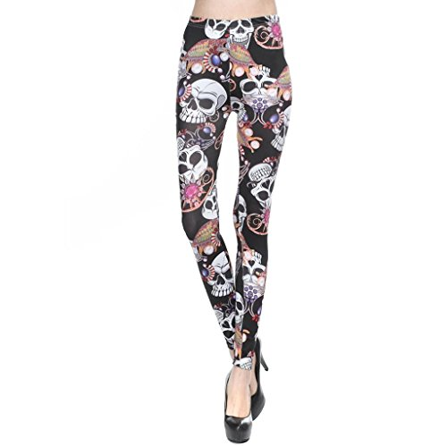 Usstore Women Casual Milk Silk Printed Leggings Sexy Skinny Pants (B)