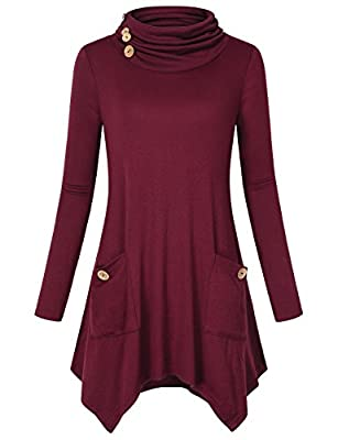Hibelle Women's Turtleneck Long Sleeve Asymmetric Hem Tunic Tops with Pockets