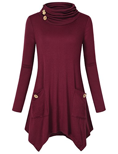 Hibelle Going Out Tops for Women, Girls Turtleneck Christmas Clothes Long Sleeve Casual Wear Flare Flowy Loose Fitted Cotton Tunic Tshirt Wine Red ()