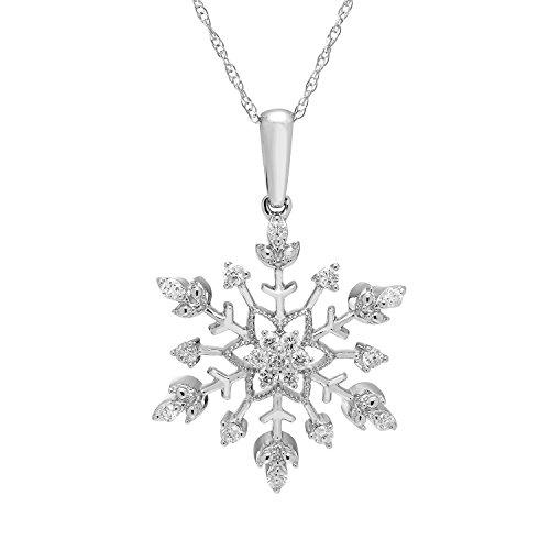White Gold Diamond Snowflake Pendant - 10K White Gold 1/4 Cttw. Diamond Snowflake Pendant Necklace with 18