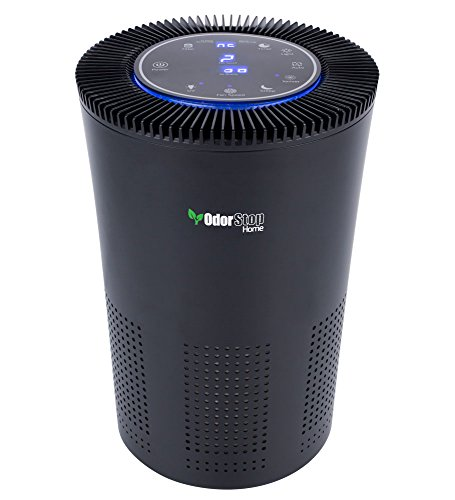 OdorStop OSAP5-5-in-1 Air Purifier with H13 HEPA Filter, UV, Active Carbon, Ionizer and Pre-Filter (Black)