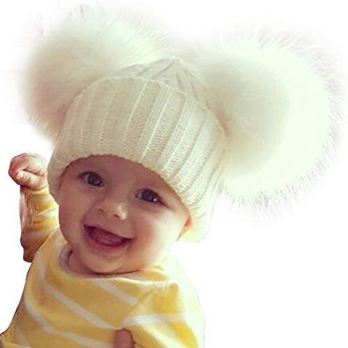 8a415196d14 MIOIM Cute Baby Girls Boys Winter Hat Double Faux Fur Beanie Pompom Beanies  Ski Cap