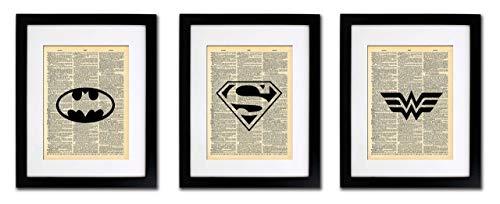 Superhero Batman Superman Wonder Woman - 3 Print Set - Vintage Dictionary Print 8x10 inch Home Vintage Art Abstract Prints Wall Art for Home Decor Wall Decorations Home Office - Life Marrott Stephanie