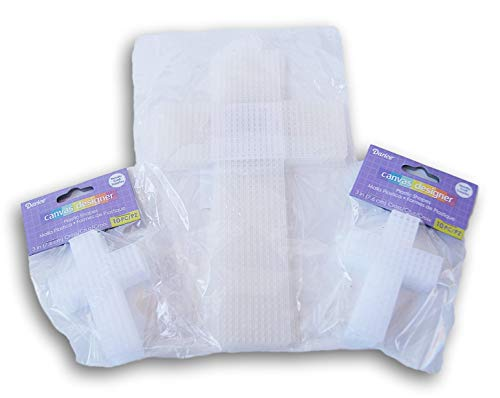 "Plastic Embroidery Canvas Cross Shape Bundle – 2 Sizes – 3"" and 8"" – 26 Piece Set"