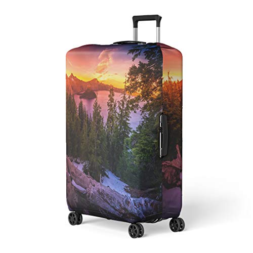 Pinbeam Luggage Cover Crater Lake National Park Wizard Island and Watchman Travel Suitcase Cover Protector Baggage Case Fits 22-24 inches