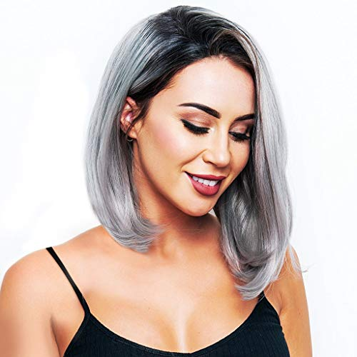 Armmu Bob Straight Hair Lace Front Wig for Women Synthetic Shoulder Length Side Part Black Gray Gradient Wig