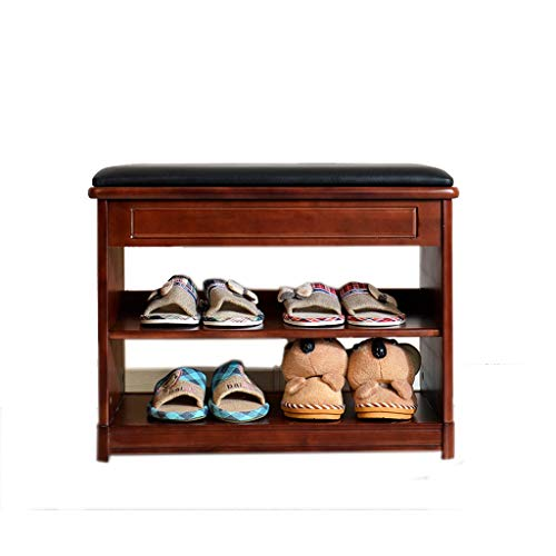 Shoe Box Shoe Rack Birch Change Shoes Stoolmodern Simple Multifunction Storage Stool (Color : Wine red)