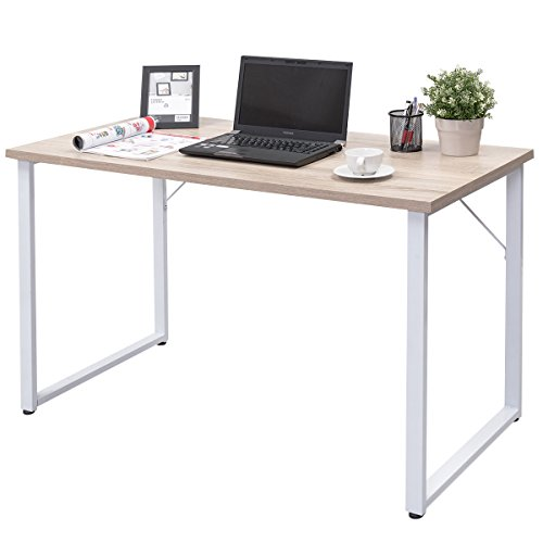 Tangkula Writing Table Wood PC Laptop Beginnings Computer Desk Home Office Furniture (natural)