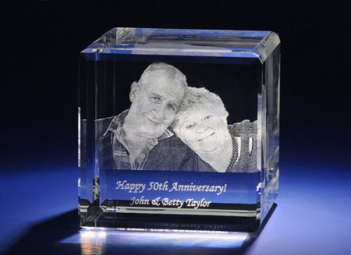 Personalized Engraved Photo Crystal Flat Cube A1804 (Photo Crystal compare prices)