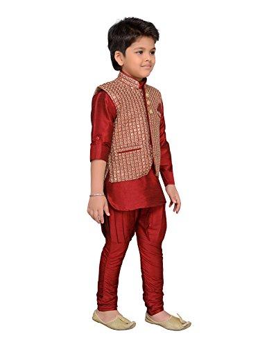 AJ Dezines Kids Indian Wear Bollywood Style Kurta Pyjama Waistcoat for Boys (617-MAROON-7) by AJ Dezines (Image #3)