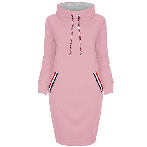 GOVOW Long Hooded Trench Coat Women Long Sleeve Solid Patchwork O Neck Casual Sweatshirt Dress