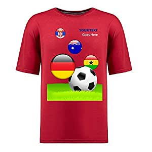 Custom Mens Cotton Short Sleeve Round Neck T-shirt,2014 Brazil FIFA World Cup teams_D red