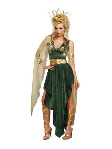 Snake Goddess Costume (Dreamgirl Women's Medusa, Green, Medium)