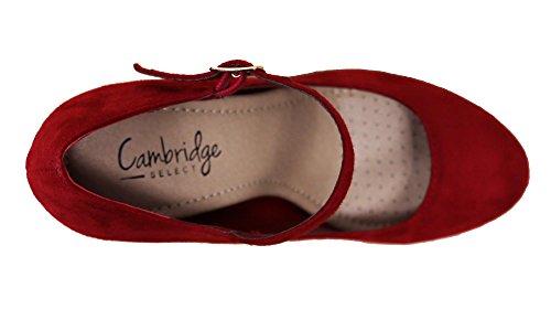 Cambridge Selezionare Donna Mary Jane Fibbia Cinturino Attillato Cuscino Alto Tallone Pompa Rossetto Isu