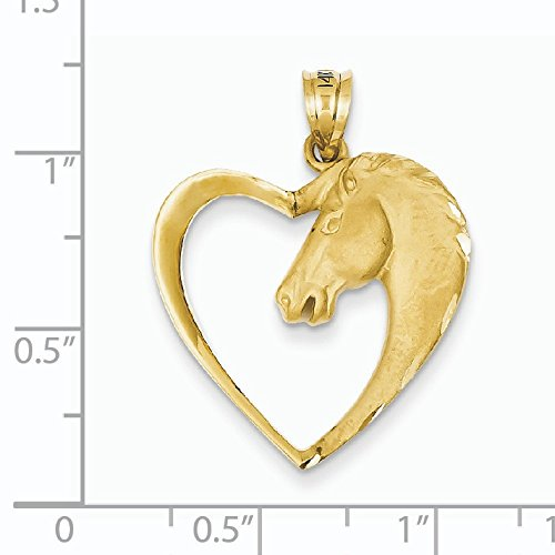 Or 14 carats Pendentif Cheval - Dimensions 29,8 x 23.7 mm
