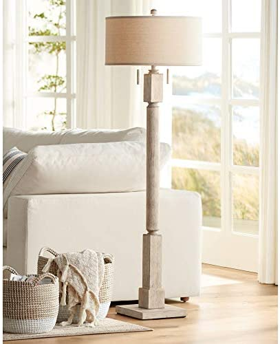 Baluster Traditional Country Cottage Tall Standing Floor Lamp Rustic Whitewashed Pickled Wood Oatmeal Linen Fabric Drum Shade Decor