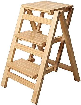 LHF Inicio Taburetes con peldaños, escalera de 3 peldaños Taburete con peldaños Silla alta Escalera Estantería Escalera de tijera Madera de pino Escalada de doble uso Ampliado Multifunción Banco de c: Amazon.es: