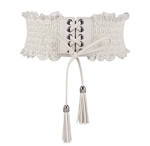 Womens Lace Elastic Waist Belts Tassel Band Corset Fashion Accessories for Dresses (White)