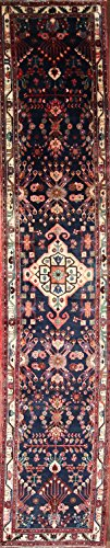 17 ft Long Nahavand Vintage Hamedan Persian Rug Runner Blue Geometric and Tribal (16' 7'' x 3' 5'')