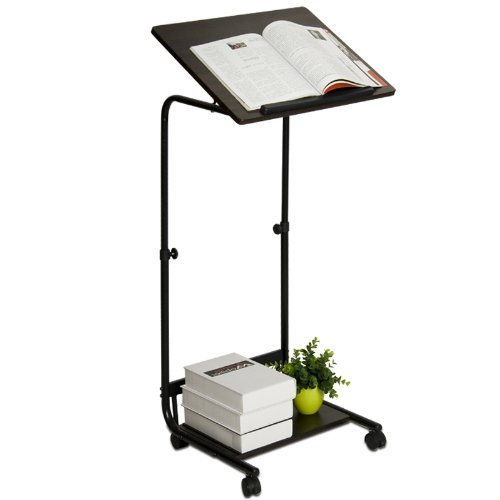 Walnut Furinno® Furinno FNBL-22090 Boyate Adjustable Rolling Laptop Desk