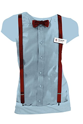 [Doctor Who 11th Doctor Braces and Name Tag Costume Women's Shirt (Large)] (Peter Capaldi Twelfth Doctor Costume)