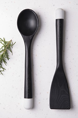 Fleischer & Wolf Athens Cooking Utensil Set(2PC)-Black Stained Ash Wooden Spoons- Perfect for Nonstick Pan and Cookware –Perfect Friendship Gifts