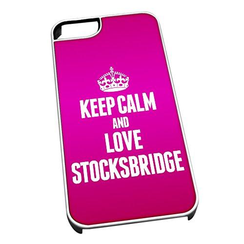 Bianco cover per iPhone 5/5S 0616Pink Keep Calm and Love Stocksbridge