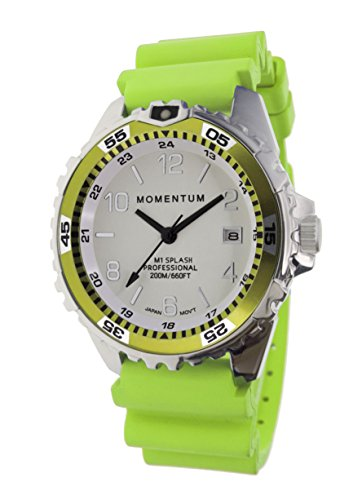 Momentum Women's Stainless Steel Japanese-Quartz Diving Watch with Rubber Strap, Green, 18 (Model: 1M-DN11LL1L)