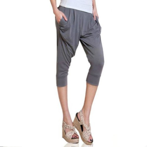 LOCOMO Women Casual Baggy Harem Pant Drape Pocket One Size (S-M) Gray FFT090GRY