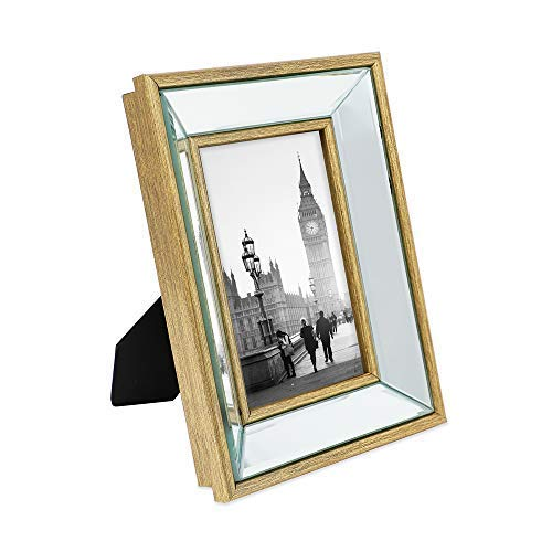 Jacobs Photo - Isaac Jacobs 4x6 Gold Beveled Mirror Picture Frame - Classic Mirrored Frame with Deep Slanted Angle Made for Wall Décor Display, Photo Gallery and Wall Art (4x6, Gold)