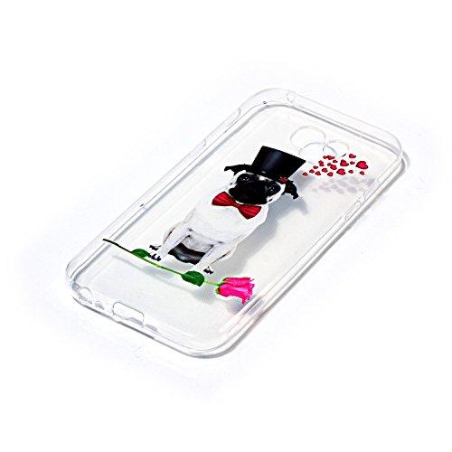 CaseHome Samsung Galaxy A5 2017/A520F gel de Silicona TPU Funda (Con Gratis Lápiz táctil) Guay ModaVistosoPatrónDiseñoCristalClaro Ultra FinoTransparenteEncaja PerfectoFlexibleSuaveCauchoPa Linda Perro