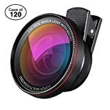 Case of 120 Packs, 0.6X Super Wide Angle Lens + 15X Macro Lens for iPhone Lens Kit, 2 in 1 Clip-On Cell Phone Camera Lens for Smartphones