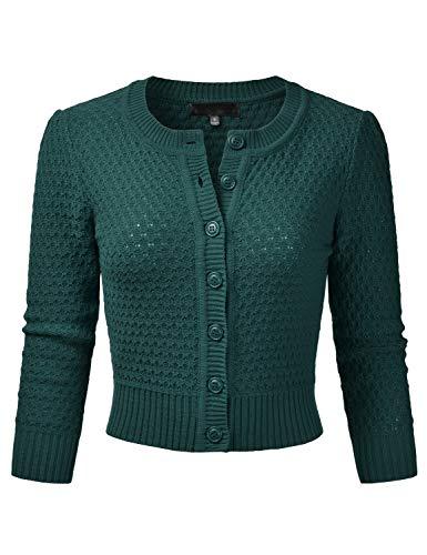 (EIMIN Women's Crewneck Button Down 3/4 Sleeve Knit Crop Cardigan Sweater Peacock 2XL)