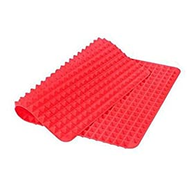 Non-Stick Silicone Baking Mat Heat-Resistant Pyramid Cooking Sheets Fat-reducing Cooking Mat 147 FOOD GRADE MATERIAL:Made of Eco-Friendly food-grade silicone. BPA-free, odorless, nontoxic, Non-stick. Temperature tolerance:-40℃ to 230℃(-40℉to 446℉) PERFECT KITCHEN MAT FOR HEALTHY COOKING: Allows food to cook evenly, bakes food light and crispy. EASY TO CLEAN, CONVENIENT TO USE:If you got tied of scrubing baking pans racks, please use this baking mat to make your life easier.Safe to use in dishwasher,Cleans Up Easy with just a little Soap and Water